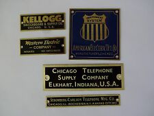 Antique telephone nameplate Western Electric, Automatic Electric,Kellogg,Chicago