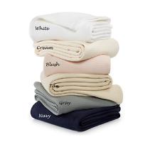 Ralph Lauren Silver Luxury Ringspun Full/Queen White Egyptian Cotton Bed Blanket