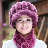 100% Brand New Women Ladies Real Rex Rabbit Fur Hat Cap Knitted Beanie Hat Cap