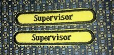 """LOT OF 2 SUPERVISOR Iron or Sew-On Patch EMBROIDERY 3.5""""x 5/8"""""""