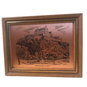 Edinburgh Castle Copper Print Wall Art Vintage Etching Scotland Historic Collect