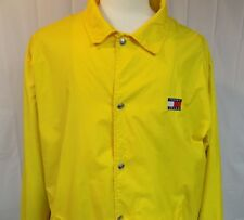 Tommy Hilfiger Men's Windbreaker Nylon Snap Front Lined Yellow Size XL Spell Out