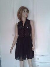 ATMOSPHERE BLACK DRESS SIZE 12,LACE BODICE CHIFFON SKIRT