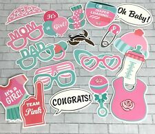25 Pink Baby Girl Gender Shower Birth Photo Booth Props Stick Party Decor A27-18