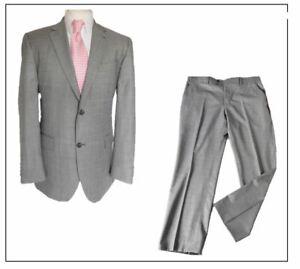 "Jeff Banks London mens 2 piece suit Ch42""R W38"" L31"" Light Grey Sharkskin"