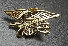 """Lapel pin BRAND NEW SEAL TEAM USN TRIDENT 1-1/8"""" pin back GOLD COLOR"""