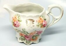 Vintage Lovely Pink & Peach Roses White Creamer Small Pitcher Openwork Handle