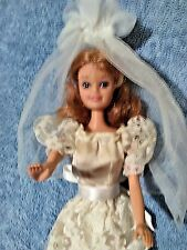 """TOTSY  11 1/2 """" BRIDE DOLL  IN BEAUTIFUL WEDDING GOWN & VEIL, STRAWBERRY BLONDE,"""