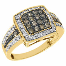 Right Hand Ring Fashion Band 0.50 Ct. 10K Yellow Gold Brown Diamond Square 3 Row