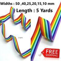 5 Yard Color Ribbon Rainbow Colors Crafts Sewing Ribbon New Wrap Ribbons