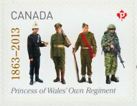 PRINCESS of WALES' OWN REGIMENT = Stamp cut from booklet Canada 2013 #2635 MNH