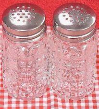 ROUND GRID 2 Oz Restaurant Quality Salt & Pepper Shaker Set Glass Stainless Lid