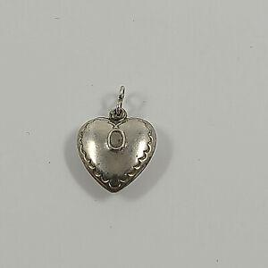 Vintage Sterling R\u00e9pouss\u00e9 Puffy Heart Charm