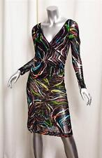MISSONI Womens Black Rayon Knit Surplice Long-Sleeve Knee-Length Dress 40/4