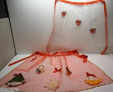 2 Vintage Christmas Holiday TULLE WITH APPLIQUES Half Aprons