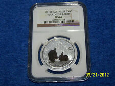 2011 Australian Silver Year of Rabbit 1/2 oz Series II NGC MS 69.