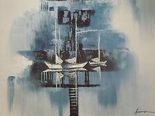 abstract blue boats ships large oil painting sea ocean fishing sailing original