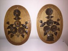 Vintage small 3D Floral Wall Plaque, Wall hanging, Wall Decor--Pair