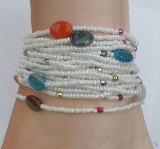Bracelet Leah  Multirang Tibétain Rocailles Blanc Perles Plates Multicolores