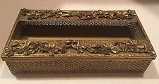 Vintage Flat Gold Filigree Tissue / Kleenex Box Cover Holder Ornate Brass Color