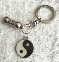 Cremation Jewellery Ashes Urn Keyring w Yin-Yang Funeral Keepsake Memorial