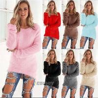 Women Velvet Fluffy Sweater Jumper Plush Sweatshirt Long Sleeve Pullover Long