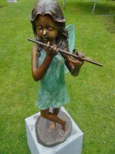 statue d une elfe a la flûte en bronze patinée , superbe ! nouveau !