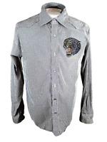 Men's L Shirt long sleeve pit to pit 22 PUNTO 8 tiger panther jeweled striped