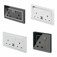 RetroTouch Black White Glass Single Double Switched Unswitched Plug Sockets USB