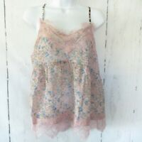 New Umgee Tank Top M Medium Pink Floral Eyelash Lace Boho Peasant Cottagecore