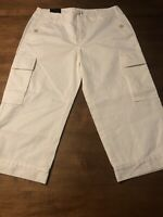 Banana Republic Women's Pants 100% Cotton Cargo Ivory 5 Pocket Crop Size 10 NWT