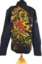 Oriental Asian Samurai Warrior Sword Men's Button Up Shirt 2XL Short Sleeve