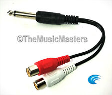 "6"" inch 1/4"" Male Mono Plug to Dual RCA Jacks (F) Premium Audio Cable Wire VWLTW"
