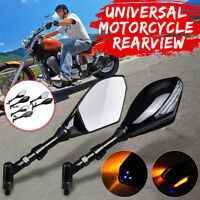 Pair 10mm Universal Motorcycle Rearview Mirrors w/ Turn Signal Indicator Light