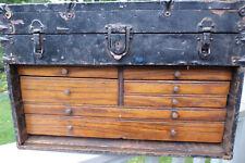 Metal Clad Wood Machinist Chest 7 Drawers Vintage Tool Box