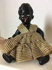 """Rare"" Gorgeous 7"" Vintage Celluloid / Plastic Black Doll with Original Clothes"