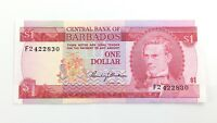 1973 Central Bank Of Barbados One 1 Dollar F2 Series Currency Banknote I110