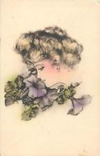COBB SHINN A/S FANTASY PROFILE BEAUTIFUL WOMAN W/FLOWERS P/C