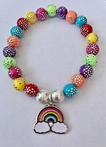 Girls Rainbow Stretchy Sparkle Bracelet (6 Inches) for Party's/Gifting