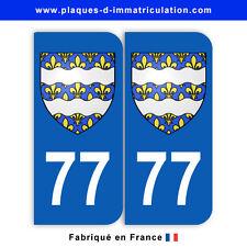 Stickers pour plaque département 77 Seine-et-Marne (jeu de 2 stickers) blason