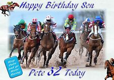 Personalised birthday card Horse racing  son grandson Husband brother
