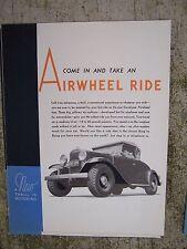 1930s Goodyear Airwheel Tires Color Promotional Brochure Chromium Hub Caps  V