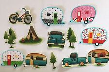 12 Tiny Camping / Vacation Summer Fun- Iron On Fabric Appliques