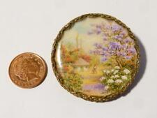 Miniature Hand Painted Flowers & Blossom, Man & Hut Signed DMV Painting Brooch *
