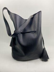 FREE PEOPLE Womens Hobo Bucket Handbag Vegan Pebbled Leather Pouch & Tassels XL