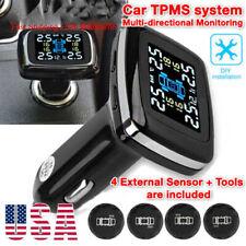 Car Tpms Wireless Tire Pressure Monitoring System Lcd + 4 External Sensors