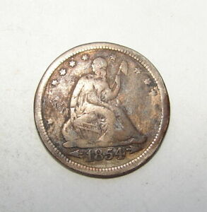 """1854 US SEATED LIBERTY QUARTER LOVE TOKEN ENGRAVED WITH THE LETTERS """" AH """""""