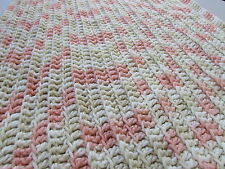Baby Afghan Handmade Crochet Lap Blanket Throw Peach Geometric Multi-color Knit