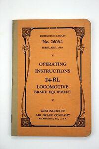 Operating Instructions 24-RL Locomotive Brake Equipment No. 2606-1 1950 Leaflet