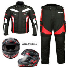 Full Face Motorbike Motorcycle Scooter Helmet Biker Racing Suit Jacket Trousers